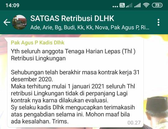 Ratusan Kontrak THL DLHK Terancam Tak Diperpanjang, Awal Tahun 2021